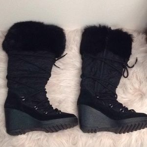 Coach quilted c fur suede softie boot black 6.5